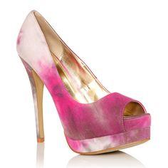 Love these pink tye-dye heels!http://www.yournextshoes.com/2011/08/met-justfab-della/