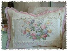 Romantic Roses Down Filled Porch Pillow-