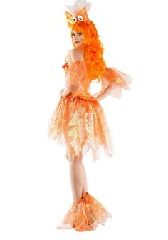 This Women's Sexy Goldfish Costume is a sassy choice for being a shimmery sea creature. Cute Baby Costumes, Unique Couple Halloween Costumes, Little Mermaid Costumes, Sea Creature Costume, Sea Costume, Ballet Costumes, Adult Costumes, Costumes For Women, Goldfish Costume