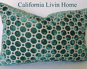 "Set of 2 / ROBERT ALLEN / Velvet Geo Pillow Covers / 18"" x 18"" /  SeaGlass / Designer Fabric / Decorative Pillow. $78.00, via Etsy."