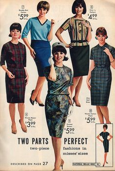 Two part fashions (skirts and tops) from 1964.