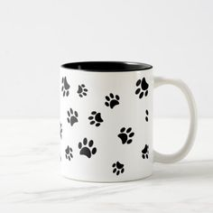 Black Paw Prints Pattern Two-Tone Coffee Mug - animal gift ideas animals and pets diy customize