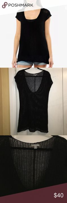 James Perse Cashmere Top Black James Perse 100% cashmere scoop neck open knit short-sleeve sweater tunic. Size 2. In good condition. James Perse Sweaters