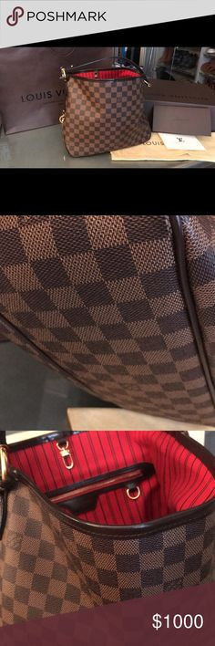 """Authentic Louis Vuitton Delightful PM Damier Delightful Canvas Leather Shoulder Bag 18.5""""L x 13""""H x 5.9""""W Beautiful & Gently used since May 2016 LV Monogrammed Canvas Dust Bag included (Picture of receipt included in photos-purchased by ME at Scottsdale Fashion Square, Louis Vuitton) Louis Vuitton Bags Shoulder Bags"""