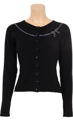 Vintage Inspired Autumn | ◦ | Cardigan Cashmere Pullover Black - Flower Pattern | ◦ | King Louie AW14