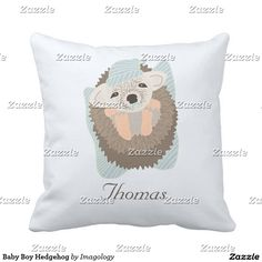 Baby Boy Hedgehog Throw Pillow