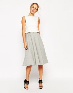ASOS Structured Skater Dress with Overlay in Colourblock