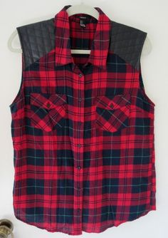 Forever 21 Red Plaid Sleeveless Flannel Button Down Shirt L Faux Leather Panels #FOREVER21 #ButtonDownShirt #Casual