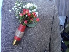 Shotgun Shell Boutonniere | ... arrangement from @Maggie Moore's Farm ~ Shot gun shell boutonniere
