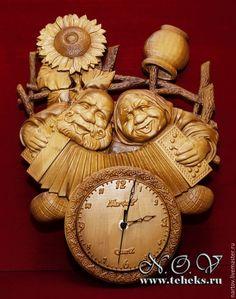 """Купить Резные часы из дерева """"Неразлучники"""" - часы настенные, часы интерьерные, часы для дома"""