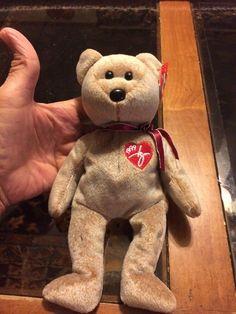 TY Beanie Babies . 1999 . # 4228  . 1999 Signature Bear  | eBay Rare Beanie Babies, Ty Bears, Ty Beanie Boos, Babys, Yup, Dinosaur Stuffed Animal, Plush, Teddy Bear, Space