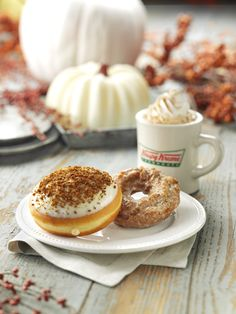 New Pumpkin Cheesecake doughnut: A tasty combination of cheesecake and pumpkin flavors in a smooth filling, topped with cream cheese icing and a gingersnap cookie crumble.