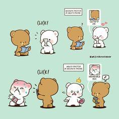 Cute Couple Comics, Cute Couple Cartoon, Cute Cartoon Pictures, Cute Comics, Cute Panda Drawing, Cute Bear Drawings, Kawaii Drawings, Cartoon Drawings, Cute Emoji Combinations