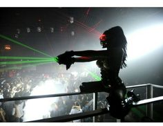 Laser Emitting Sun Glasses and Laser Gloves. Special Effects for Nightclubs. Photo credit: #MansionSouthBeach Avail. At www.NightclubShop.com