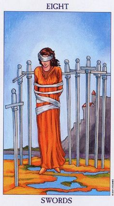 Detailed Tarot card meaning for the Eight of Swords including upright and reversed card meanings. Access the Biddy Tarot Card Meanings database - an extensive Tarot resource. Rider Waite Tarot Cards, Tarot Significado, Tarot Cards For Beginners, Tarot Gratis, Tarot Card Meanings, Tarot Spreads, Tarot Readers, Major Arcana, Illustrations