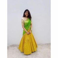 New Indian Bridal Lengha Color Combos Colour Ideas Lehanga Saree, Lehenga Saree Design, Half Saree Lehenga, Lehnga Dress, Lehenga Designs, Indian Lehenga, Saree Blouse Designs, Floral Lehenga, Yellow Lehenga