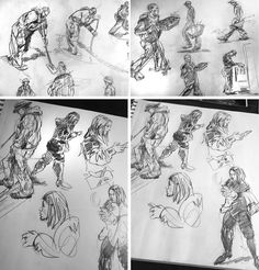 Preliminary sketches of workers and visitors