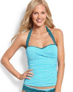 Baia Hot Dot & Stripe Halter Twist-Front Tankini