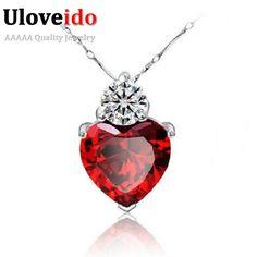 Uloveido corazón colgantes collares collar de cristal rojo de las mujeres regalos de joyas de plata plateado collar pingentes de suspensión 55641