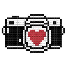 Few families would consider leaving home for a vacation these days without reliable, high-quality digital imaging equipment-whether it's a camera or a Easy Pixel Art, Pixel Art Grid, Graph Paper Drawings, Graph Paper Art, Diy Perler Beads, Perler Bead Art, Cross Stitch Designs, Cross Stitch Patterns, Cross Stitching