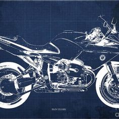 Blueprint For Men Office Decoration. Blue Background by Drawspots Illustrations Men Office, Enfield Bullet, Gull, Blue Backgrounds, Digital Art, Instagram Images, Design Inspiration, Motorcycle, Illustrations
