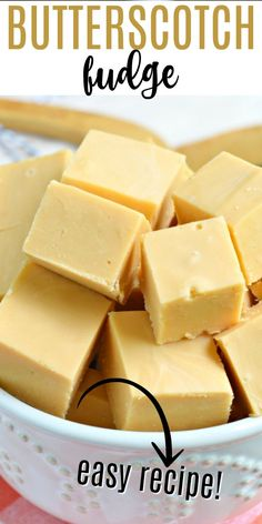 Creamy, melt-in-your-mouth Butterscotch Fudge is an easy recipe to make any time of year! No candy thermometer needed to make this perfect homemade fudge recipe. Fudge Recipes, Sweets Recipes, Candy Recipes, Fall Recipes, Holiday Recipes, Cooking Recipes, Homemade Fudge, Homemade Candies, Butterscotch Fudge
