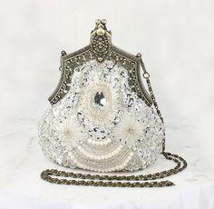 Art Deco Bridal Clutch, Old Hollywood Evening Bag, Handbag Purse Gatsby Wedding Accessory