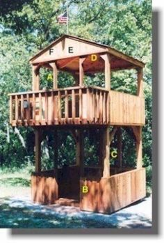 Shed Plans with Shed Blueprints, Diagrams & Woodworking Designs, Kits, Storage Garden Shed Plans Patterns i'm thinking tree house. Kids Playhouse Plans, Build A Playhouse, Cedar Playhouse, Backyard Fort, Backyard Playground, Backyard Playset, Playground Ideas, Backyard Ideas, Outdoor Projects