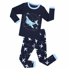 Boys' Clothing, Sleepwear & Robes, Pajama Sets,Boys Airplane Pajamas Cotton Children Sleepwear Long Sleeve Pyjamas for Kids Home wear - # # Satin Pyjama Set, Pajama Set, Pajama Party, Cute Pyjama, Pajamas For Teens, Pajamas Women, Baby Girl Pajamas, Baby Girls, Boys Sleepwear