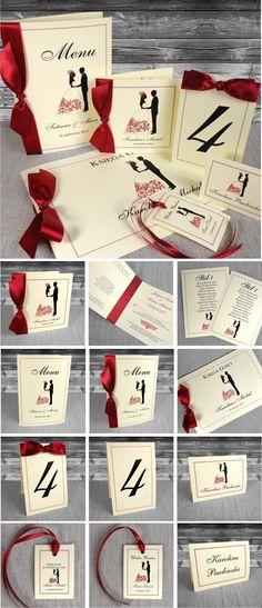 zaproszenia ślubne - Zaproszenia na ślub z Parą Młodą. Czerwone. Oryginalne, piękne. Ze wstążką. Calendar, Holiday Decor, Life Planner