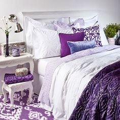 Love the purple and white together.  Throw by Zara.