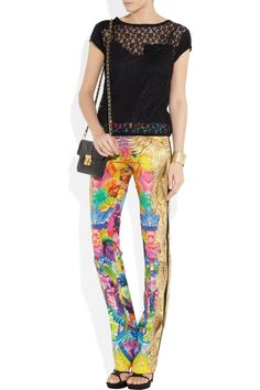 Roberto Cavalli | Printed stretch-silk straight-leg pants | NET-A-PORTER.COM