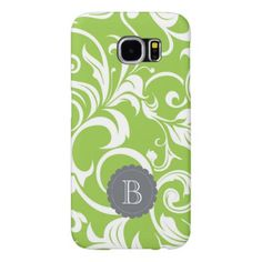 Modern Avocado Floral Wallpaper Swirl Monogram Samsung Galaxy S6 Case - monogram gifts unique custom diy personalize