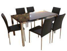 YA-068DT Modern Black Glass Dining Table+Y-837CH Modern PU Dining Chair – Mandaue Foam