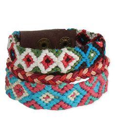 Red & Blue Braided Tribal Bracelet by ZAD #zulily #zulilyfinds