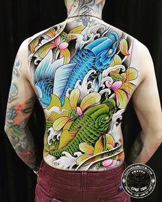 Ems Tattoos, Gangster Tattoos, Back Tattoos, Tattoos For Guys, Dragon Tattoo Colour, Koi Tattoo Design, Koi Art, Koi Fish Tattoo, Japanese Tattoo Art