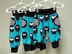 Hedgehogs Turquoise Baby Pants with Fake Pockets Baby Jogger