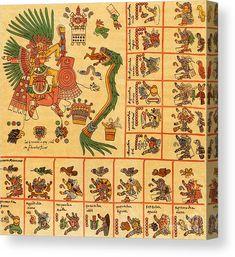 Ancient Civilization Canvas Print featuring the photograph Aztec Calendar Codex Borbonicus Century by Photo Researchers Aztec Symbols, Aztec Names, Aztec Culture, Inka, Aztec Warrior, Aztec Calendar, Aztec Art, Mesoamerican, Indigenous Art