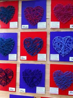 This looks like it maybe a fun project near valentines day Diy Crafts For Kids, Arts And Crafts, Diy Pour Enfants, Cadeau Parents, Valentines Art, Heart Crafts, Mothers Day Crafts, Heart Art, Creative Kids