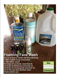 Foaming face wash made with essential oils. This is a great cleanser to use on a daily basis and also good for those with acne troubles. So much less expensive when you make it on your own. and it smells amazing! www.onedoterracommunity.com https://www.facebook.com/#!/OneDoterraCommunity