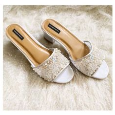 Pearl encrusted sandals Wedding Looks, Bridal Looks, Western Gown, Reception Gown, Bridal Heels, Dusty Rose Color, Stylish Blouse Design, Silver Heels, Boho Look