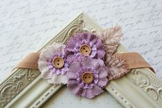 Purple Flower headband, baby flower headbands, vintage headbands, vintage baby headbands, newborn headbands, photography prop. $12.95, via Etsy.