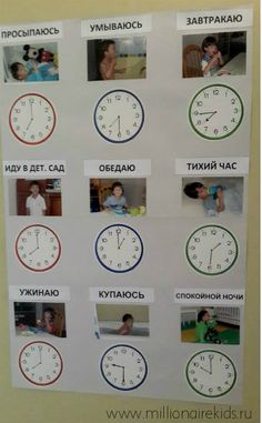 плакат распорядок дня. Учимся определять время по часам
