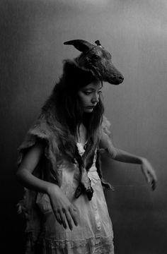 skins, creeping, girl, dress, horns, ram,