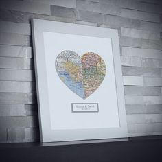 Personalized Map Art Custom Wedding Gift Anniversary by Paperture  Nice gift. Just not for me!