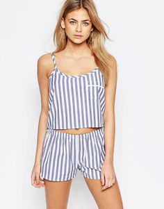 Shop Boohoo Stripe Pyjama Top & Short Set at ASOS. Night Wear Lingerie, Pijamas Women, Cotton Bralette, Cute Underwear, Striped Pyjamas, Best Prom Dresses, Cute Pajamas, Pajama Top, Nightwear