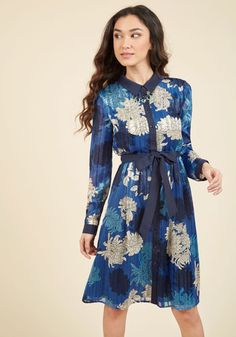 Bosses Who Brunch Shirt Dress. Meet up with your fellow business aficionados for mimosas and motivating conversation in this blue shirt dress! #blue #modcloth