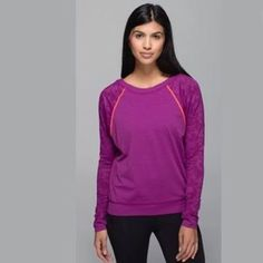 {NWT} Lululemon Run for Days Long Sleeve NWT lululemon run for days longsleeve in an awesome Fuschia color with neon orange highlights. Super comfortable with sweat-wicking technology. lululemon athletica Tops Tees - Long Sleeve