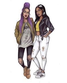 20 year old Polish illustrator draws the fiercest fashionistas in this drawing series - AFROPUNK Black Love Art, Black Girl Art, Black Girl Magic, Art Girl, Arte Fashion, Bff Drawings, Black Art Pictures, Black Artwork, Dope Art