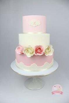 simple pink & white cake
